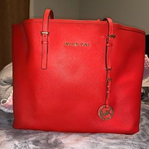 Michael Kors Leather Burnt Orange Colored Tote Bag